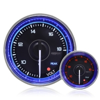 52mm Crystal Blue Peak/Warning Voltage Gauge