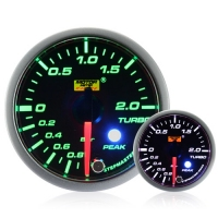 52mm Green Stepper Motor (Peak) Turbo Boost Gauge (BAR)