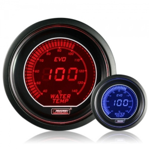 52mm Evo LCD Red / Blue Water Temperature Gauge (°C)