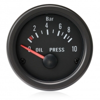 52mm Clear Lens / Black Face Oil Pressure Gauge - Bar