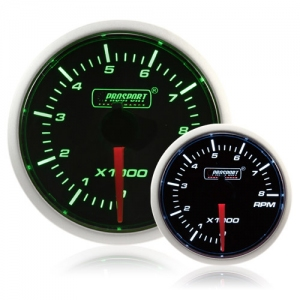 52mm Smoked Super Green/White Rev Counter (0-10,000 rpm)