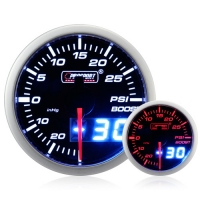 52mm Dual Display Amber / White Stepper Boost Gauge (Psi)