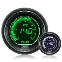 52mm Evo LCD Green / White Voltage Gauge