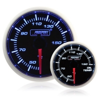 52mm Smoked Super Blue/White Oil Temperature Gauge (°C)