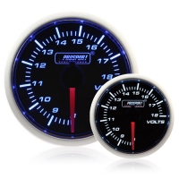 52mm Smoked Super Blue/White Volt Gauge