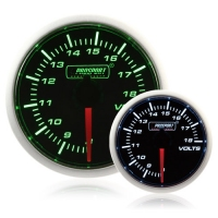 52mm Smoked Super Green/White Volt Gauge