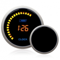 52mm Smoked Digital Amber LCD Clock