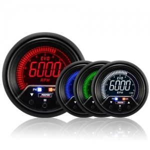 60mm Evo LCD Peak / Warning Rev Counter RPM Gauge