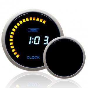52mm Smoked Digital Blue LCD Clock