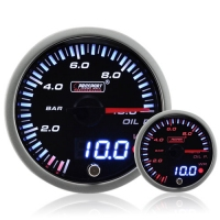 60mm JDM Dual Stepper Motor Warning Oil Pressure Gauge (BAR)