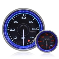 52mm Crystal Blue Peak/Warning Fuel Pressure Gauge (BAR)