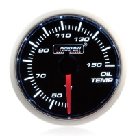 52mm Prosport Smoked Super White Oil Temperature Gauge (°C)
