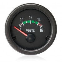 52mm Clear Lens / Black Face Voltage Gauge (12V)