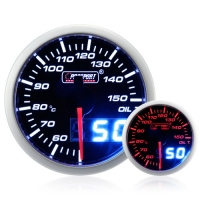 52mm Dual Display Amber / White Stepper Oil Temperature Gauge