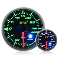 52mm Green Stepper Motor (Peak) Turbo Boost Gauge (PSI)