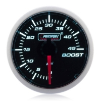 Diesel 52mm Smoked Super White Turbo Boost Gauge 0-45 Psi