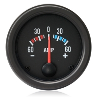 52mm Clear Lens / Black Face Ammeter 60 Amp Gauge