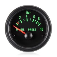 52mm Traditional Green Oil Pressure Gauge - Bar