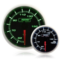 52mm Smoked Super Green/White Oil Temperature Gauge (°C)