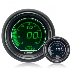 52mm Evo LCD Green / White Boost Gauge (Bar)