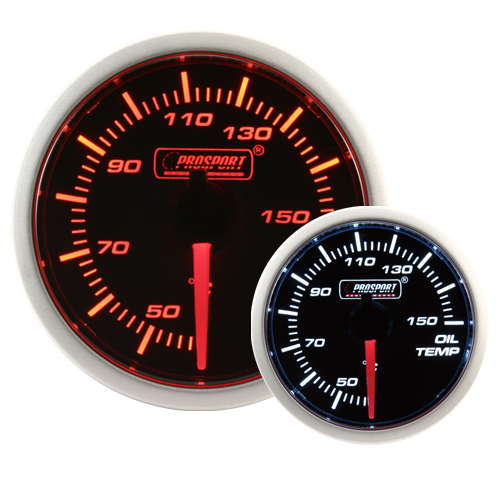 52mm Smoked Super Amber/White Oil Temperature Gauge