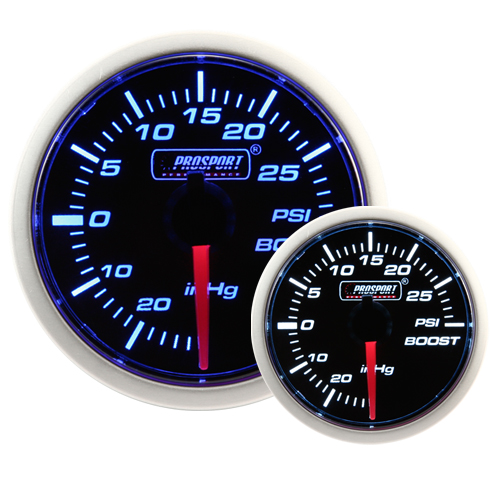 52mm Smoked Super Blue/White Turbo Boost Gauge (PSI)
