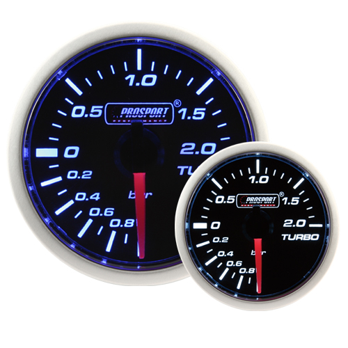 52mm Smoked Super Blue/White Turbo Boost Gauge (BAR)