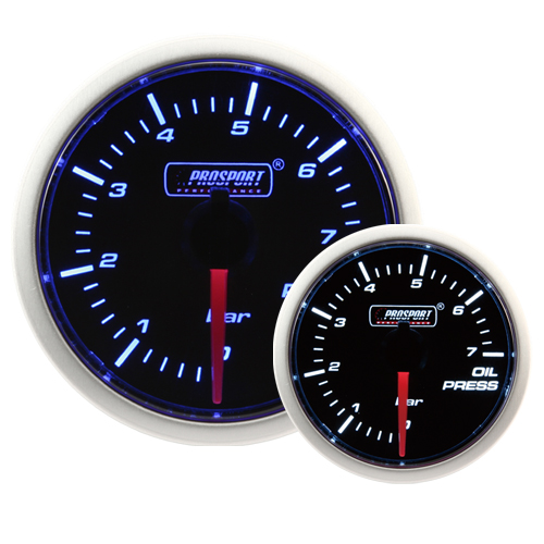 52mm Smoked Super Blue/White Oil Pressure Gauge (BAR)