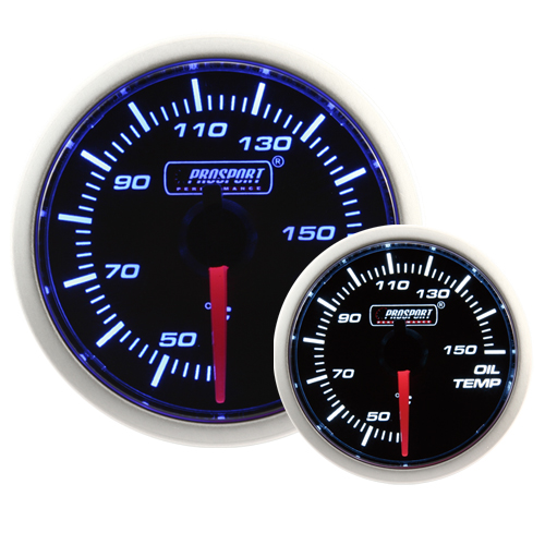 52mm Smoked Super Blue/White Oil Temperature Gauge
