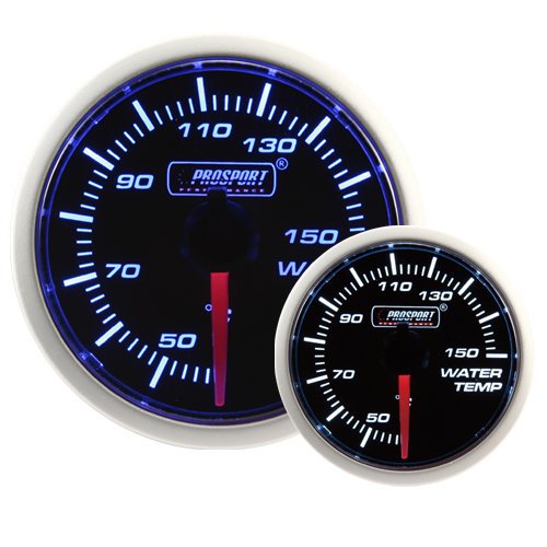 52mm Smoked Super Blue/White Water Temperature Gauge