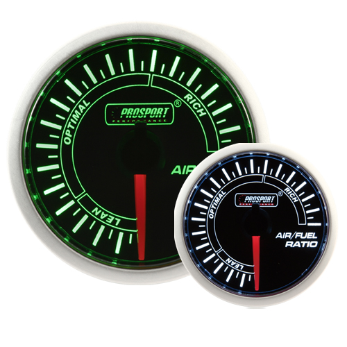 52mm Smoked Super Green/White Air/Fuel Ratio Gauge