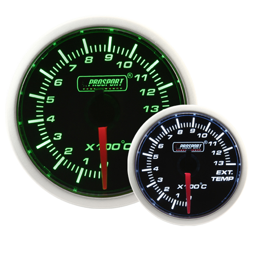 52mm Smoked Super Green/White Exhaust Gas Temperature Gauge