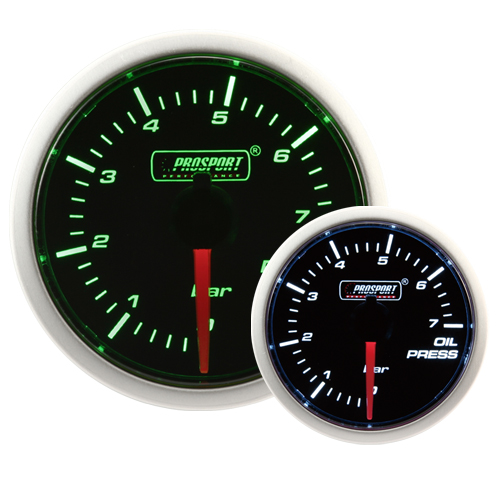 52mm Smoked Super Green/White Oil Pressure Gauge (BAR)