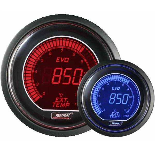 52mm Evo LCD Red / Blue EGT Exhaust Temp Gauge (°C)