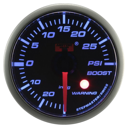 52mm Stepper Motor Super Blue (Warning) Boost Gauge (PSI)