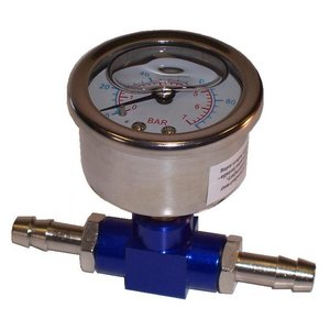 Motorsport Fuel Pressure Adaptor With Gauge - Blue