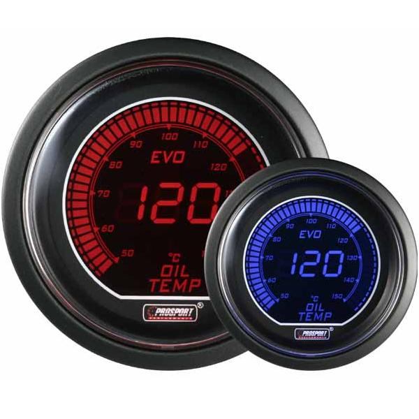 52mm Evo LCD Red / Blue Oil Temperature Gauge (°C)