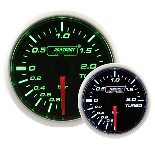 52mm Smoked Super Green/White Turbo Boost Gauge (BAR)