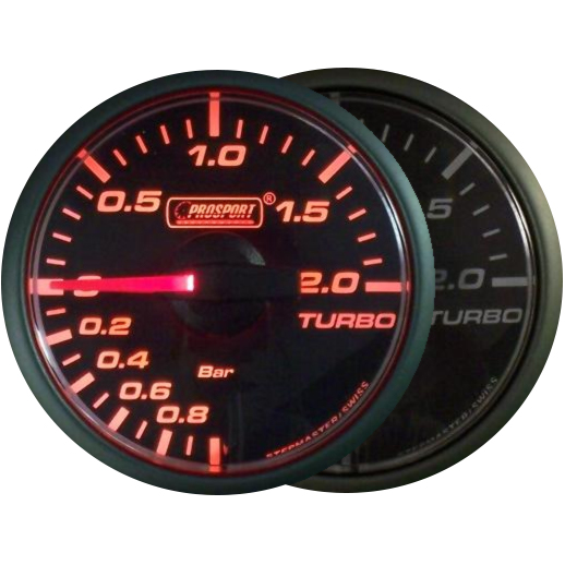45mm Stepper Motor Clear/Amber Turbo Boost Gauge (BAR)