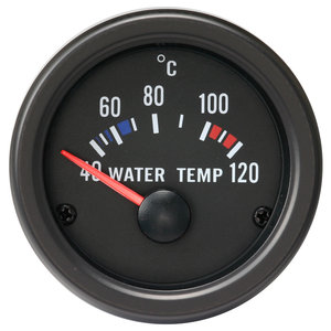 52mm Clear Lens / Black Face Water Temperature Gauge (°C)